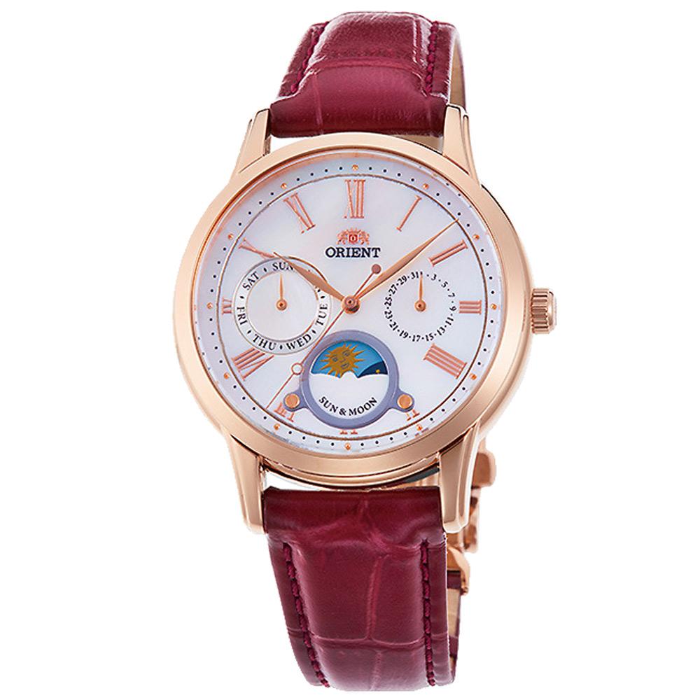 ORIENT東方SUN&MOON真皮機械錶手錶RA-KA0001-紅帶/34.8mm