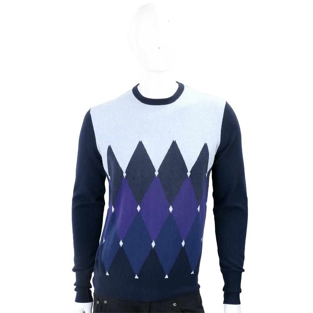 BALLANTYNE 幾何菱格藍色系喀什米爾羊毛衫