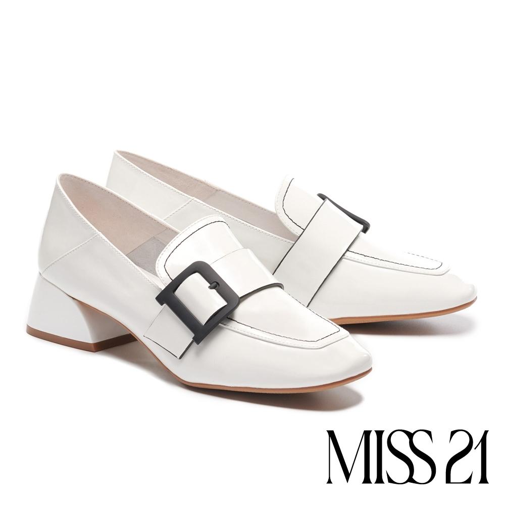 高跟鞋 MISS 21 復古知性方釦帶全真皮方頭樂福高跟鞋-白