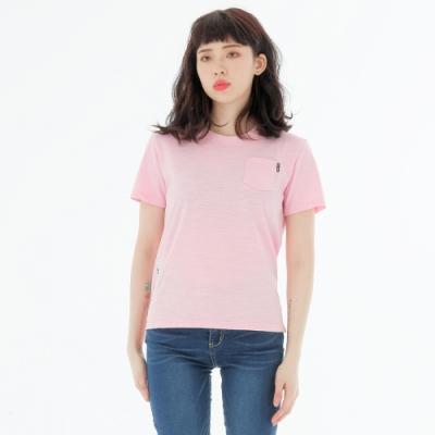 BIG TRAIN 世界之塔竹節棉基本女T-女-粉紅
