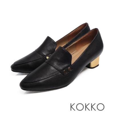 KOKKO - 小方頭柔軟感羊皮金屬粗跟鞋 - 黑