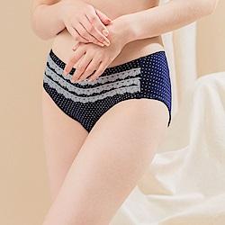 可蘭霓Clany  氣質點點蕾絲M-XL內褲 理智藍