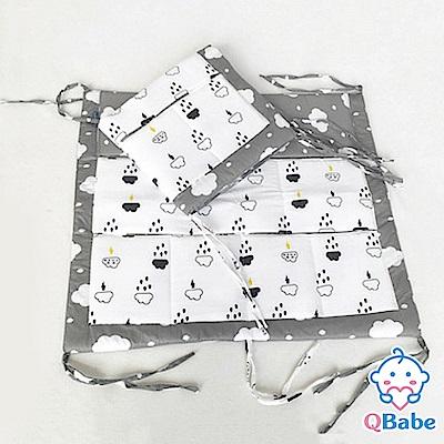 QBabe 嬰兒床邊多層收納置物掛袋-閃電烏雲