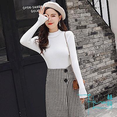 【Hera 赫拉】2018秋冬新款格子半身裙裙+時尚打底衫兩件套