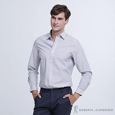 ROBERTA諾貝達 清爽休閒 合身版 條紋純棉長袖襯衫 暗藍