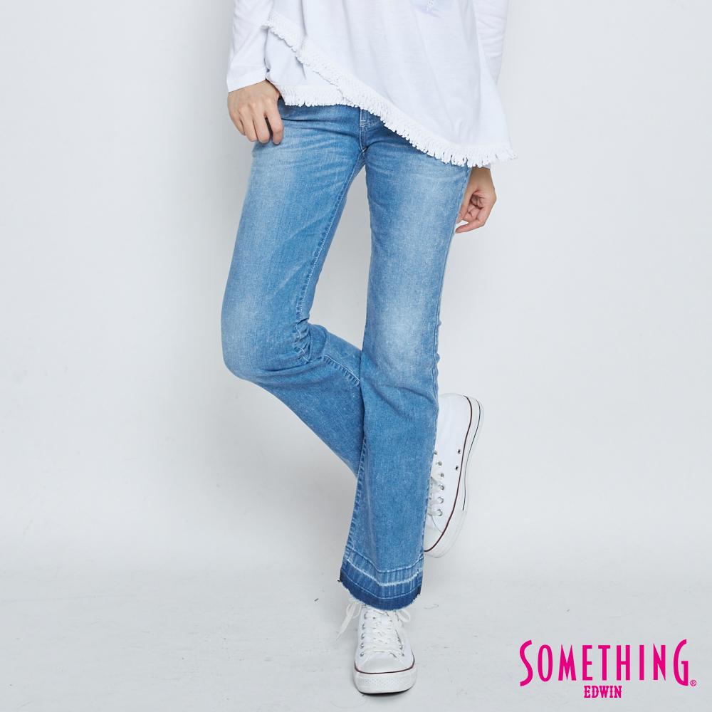 SOMETHING NEO FIT 雪花八分靴型牛仔褲-女-拔淺藍
