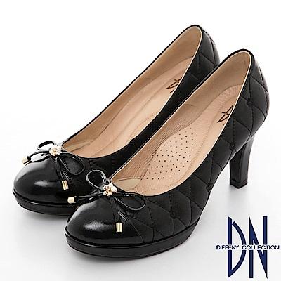 DN 高雅時尚 MIT全真皮菱格拼接漆皮跟鞋-黑
