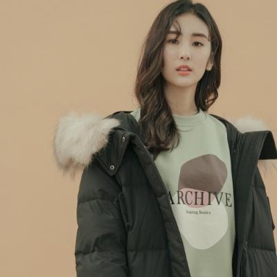 H:CONNECT 韓國品牌 女裝 - 極暖長版羽絨外套 - 黑