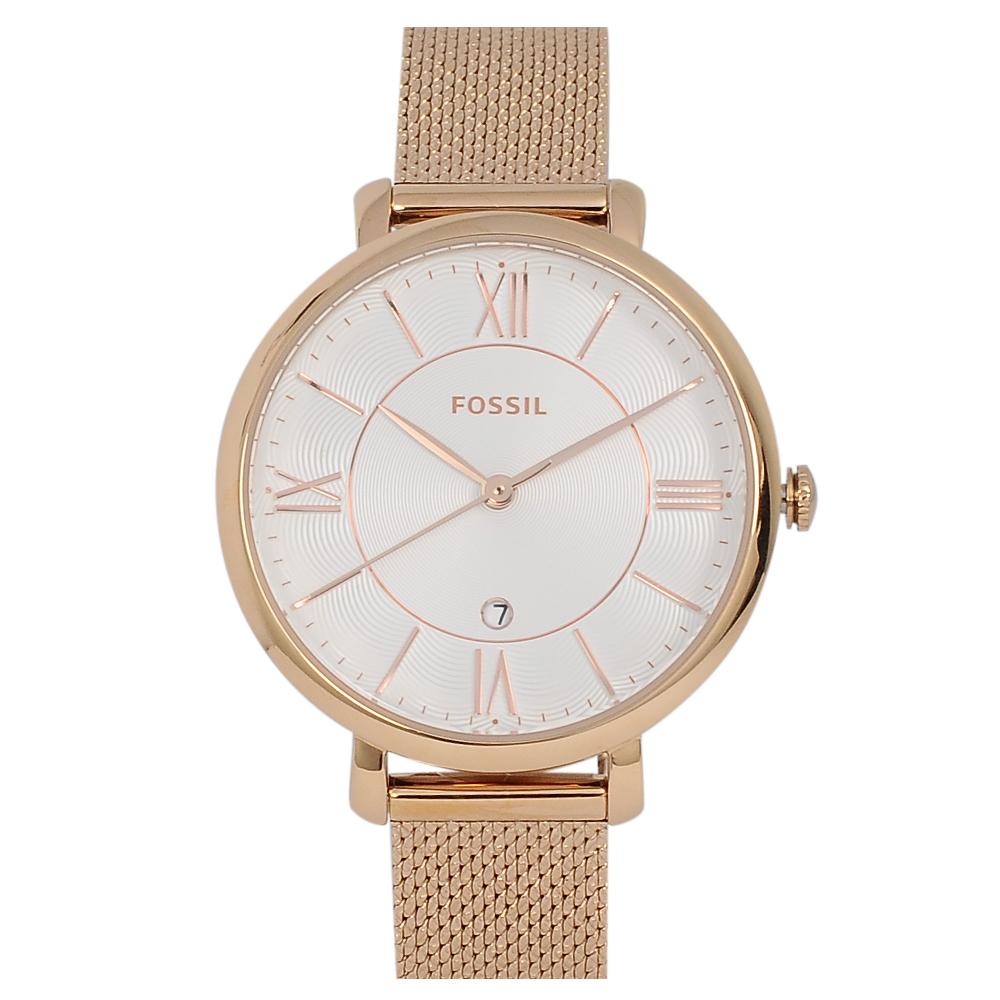 FOSSIL 美國精品手錶 JACQUELINE羅馬刻度白錶盤x玫瑰金錶框米蘭錶帶36mm