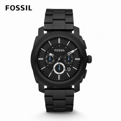 FOSSIL Machine 三眼賽車風格黑色男錶 黑色不鏽鋼鍊帶 45MM FS4552IE