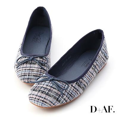 D+AF 浪漫秋氛.格紋毛呢芭蕾娃娃鞋*藍