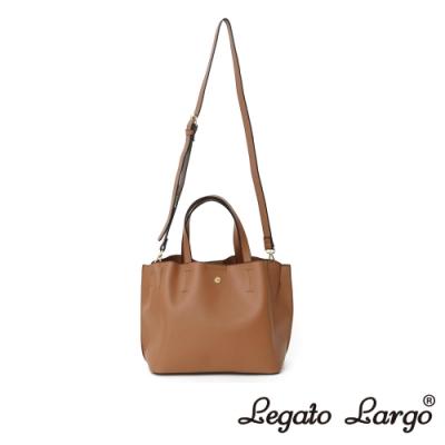 Legato Largo 驚異的輕量化 小法式輕便簡約 手提斜背兩用包 焦糖駝色