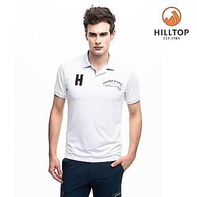【hilltop山頂鳥】男款吸濕快乾抗菌POLO衫S14MH2明亮白