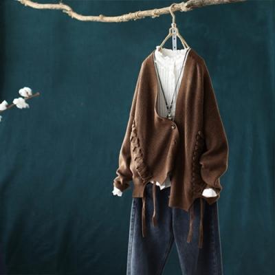 交叉繫帶螺紋V領針織衫寬鬆開衫毛衣外套-設計所在