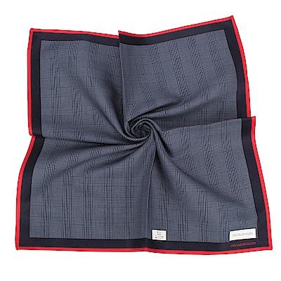 Calvin Klein 千鳥格紋純綿帕巾-藍紅色