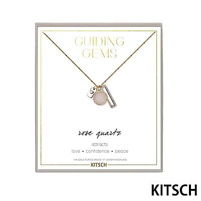 KITSCH 美國加州時尚品牌 玫瑰粉石英14K鍍金半寶石鎖片項鍊