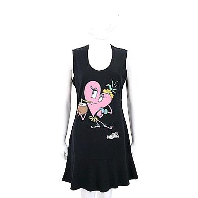 LOVE MOSCHINO 愛心童趣圖案黑色棉質連身裙