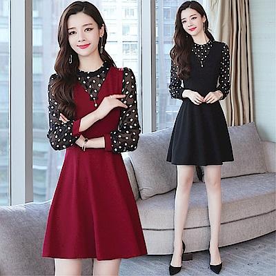 DABI 韓系時尚圓點修身顯瘦收腰長袖洋裝