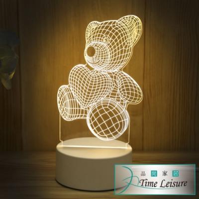 Time Leisure USB創意3D壓克力LED床頭小夜燈
