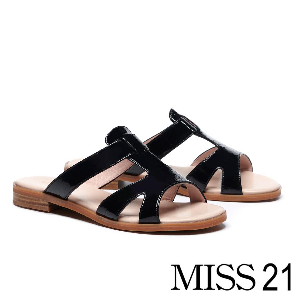 拖鞋 MISS 21 隨性時髦質感真皮低跟拖鞋-黑
