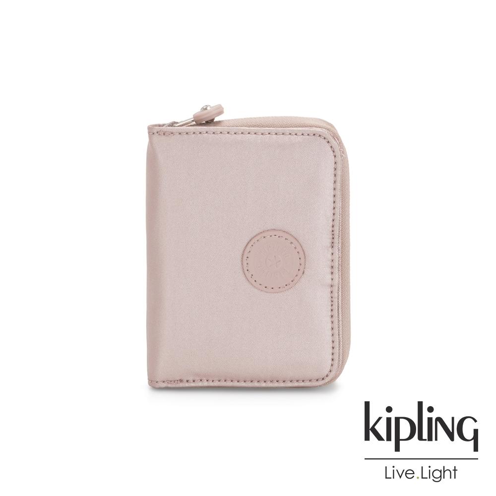 Kipling 嬌柔玫瑰金色短夾-MONEY LOVE