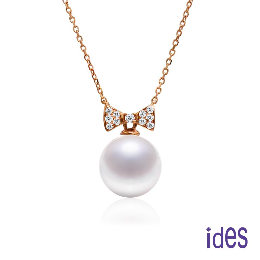 ides愛蒂思 日本輕珠寶玫瑰金系列海水珍珠鑽石項鍊/蝴蝶結14K