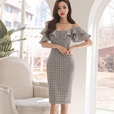 DABI 韓國風名媛氣質一字領荷葉邊修身格子包臀短袖洋裝