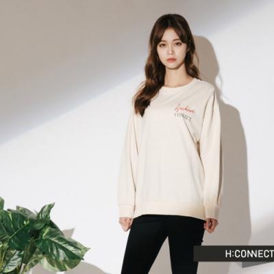 H:CONNECT 韓國品牌 女裝-標語印製長袖上衣-白