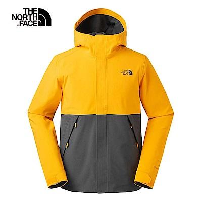 The North Face北面男款橙灰撞色防水透氣衝鋒衣 3V95K7N
