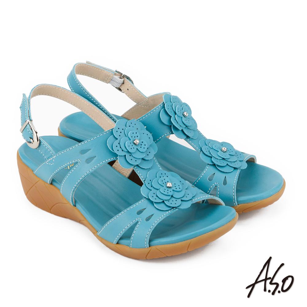 A.S.O 希臘渡假 全真皮簍空雕花休閒涼鞋 藍