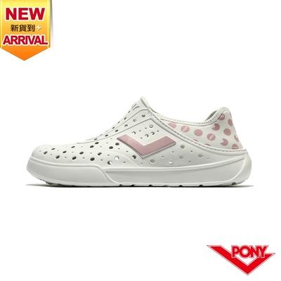 【PONY】ENJOY洞洞鞋 踩後跟 雨鞋 水鞋 中性款-小精靈/白