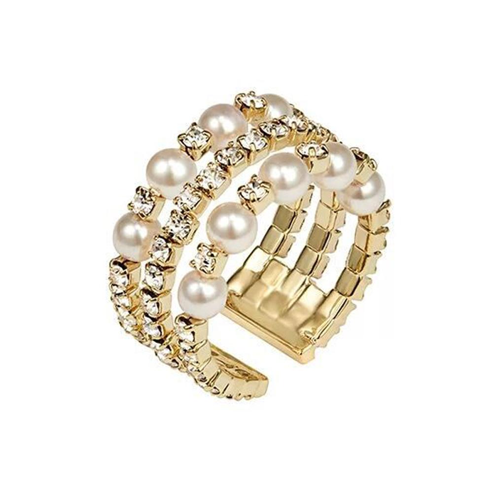 梨花HaNA 韓國璀璨代表珍珠多層金緻開口寬戒指