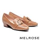 低跟鞋 MELROSE 復古時尚金屬飾釦壓紋牛皮造型方頭樂福低跟鞋-咖