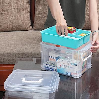 創意達人布蕾蒂手提雙層整理箱(9L)1入組