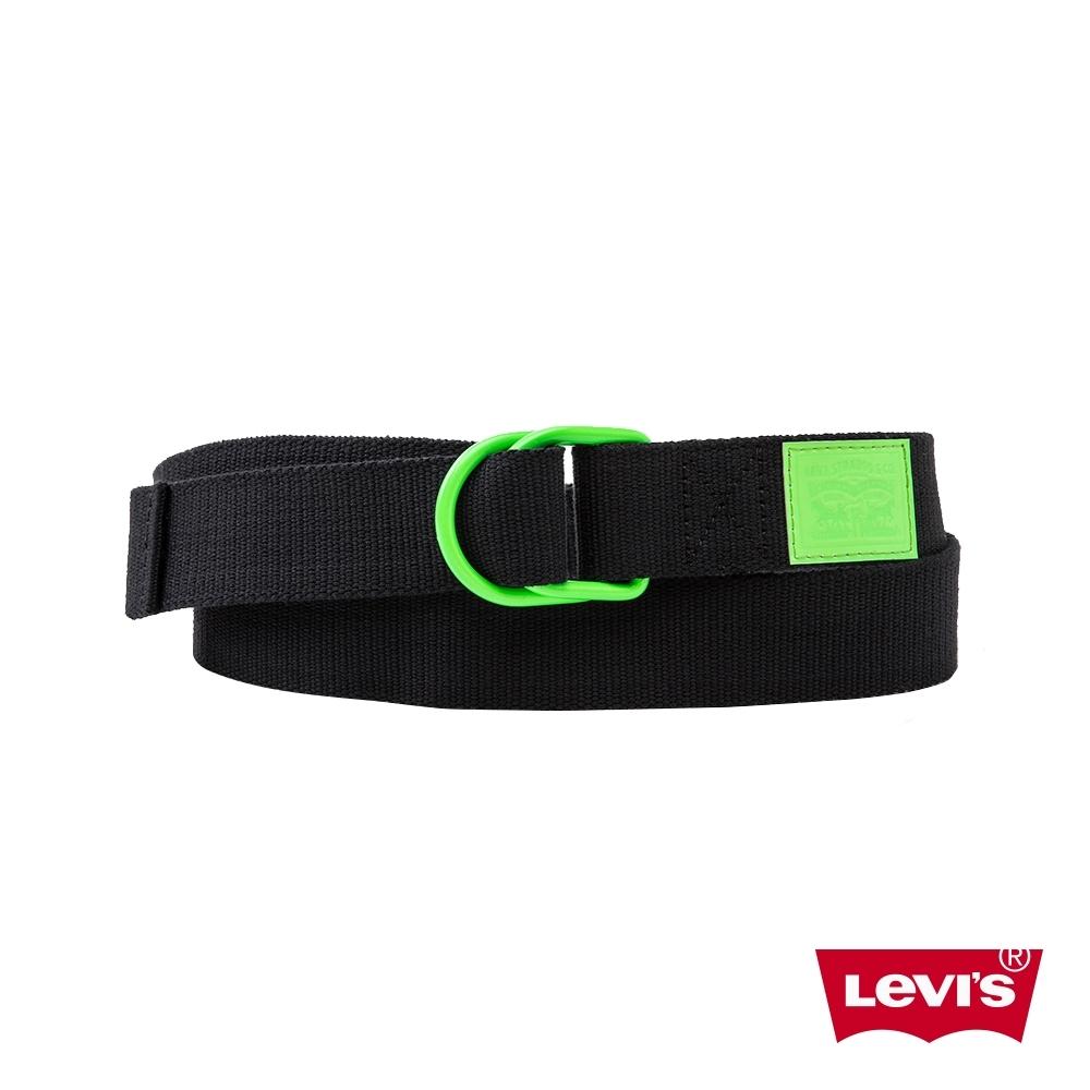 Levis 男款 皮帶 潮流環釦設計 黑炫螢光綠 質感皮標