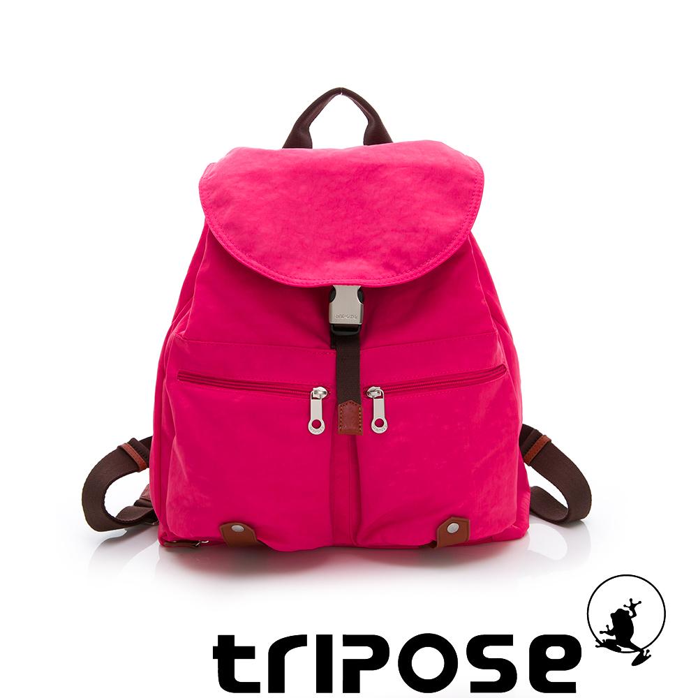 tripose MEMENTO系列微皺尼龍輕量防潑水後背包-大(桃紅)
