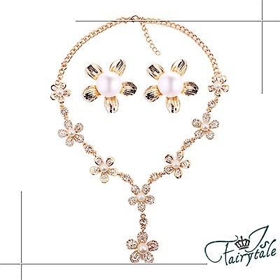 iSFairytale伊飾童話 花的祝福 珍珠水鑽金繽項鍊耳環二件套組