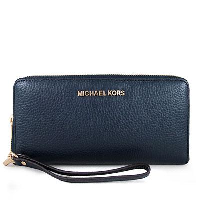 MICHAEL KORS JET SET TRAVEL金字Logo全皮革拉鍊長夾(海軍藍)