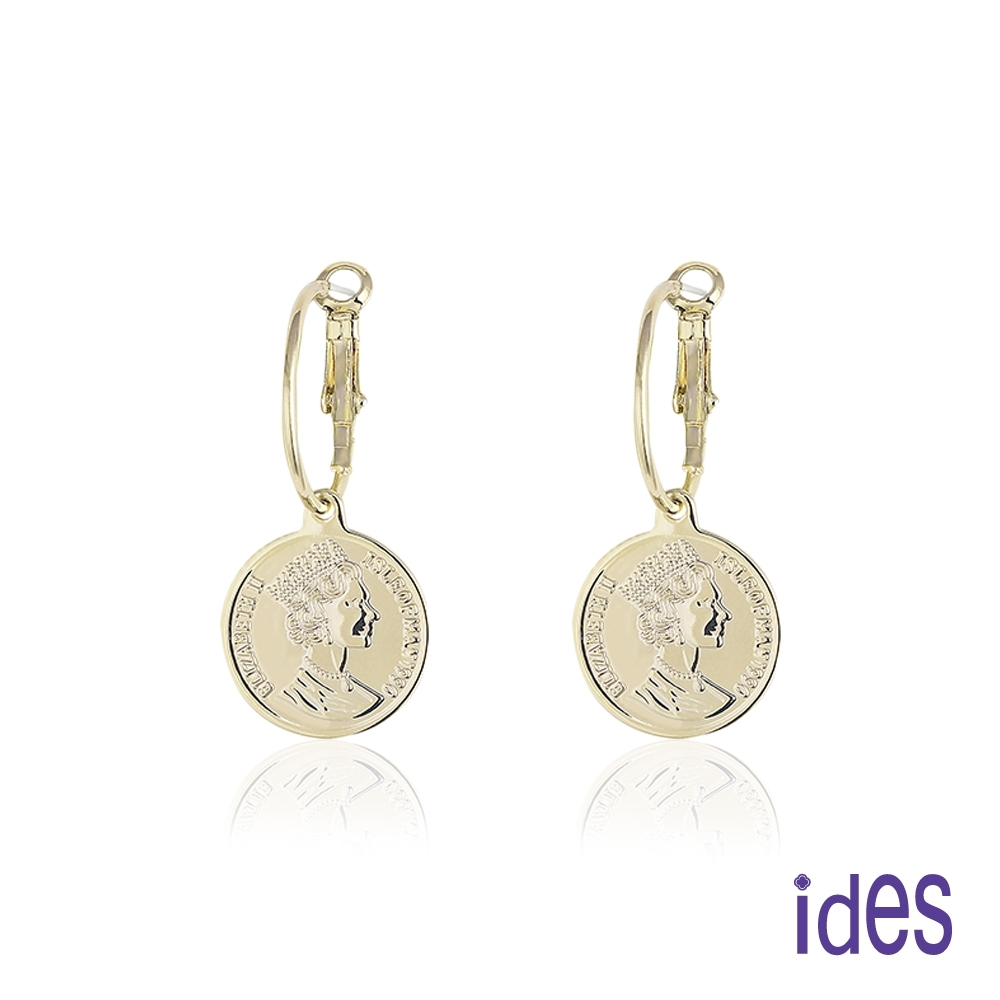 ides愛蒂思 日韓時尚設計純銀耳環/錢幣女王