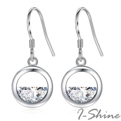 I-Shine-正白K-清泉-小清新半圓水滴水鑽耳環DB73