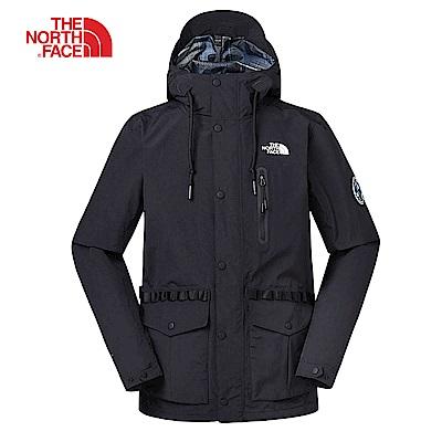 The North Face北面男款黑色防風防水衝鋒衣|3V3OJK3