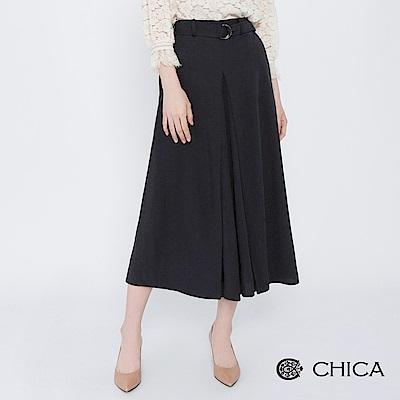 CHICA 絕美風範扣環綁帶打褶寬褲(2色)