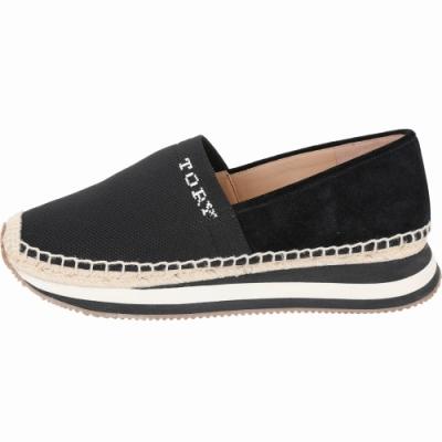 TORY BURCH Daisy 襪套彈力針織麂皮拼接草編鞋(黑色)