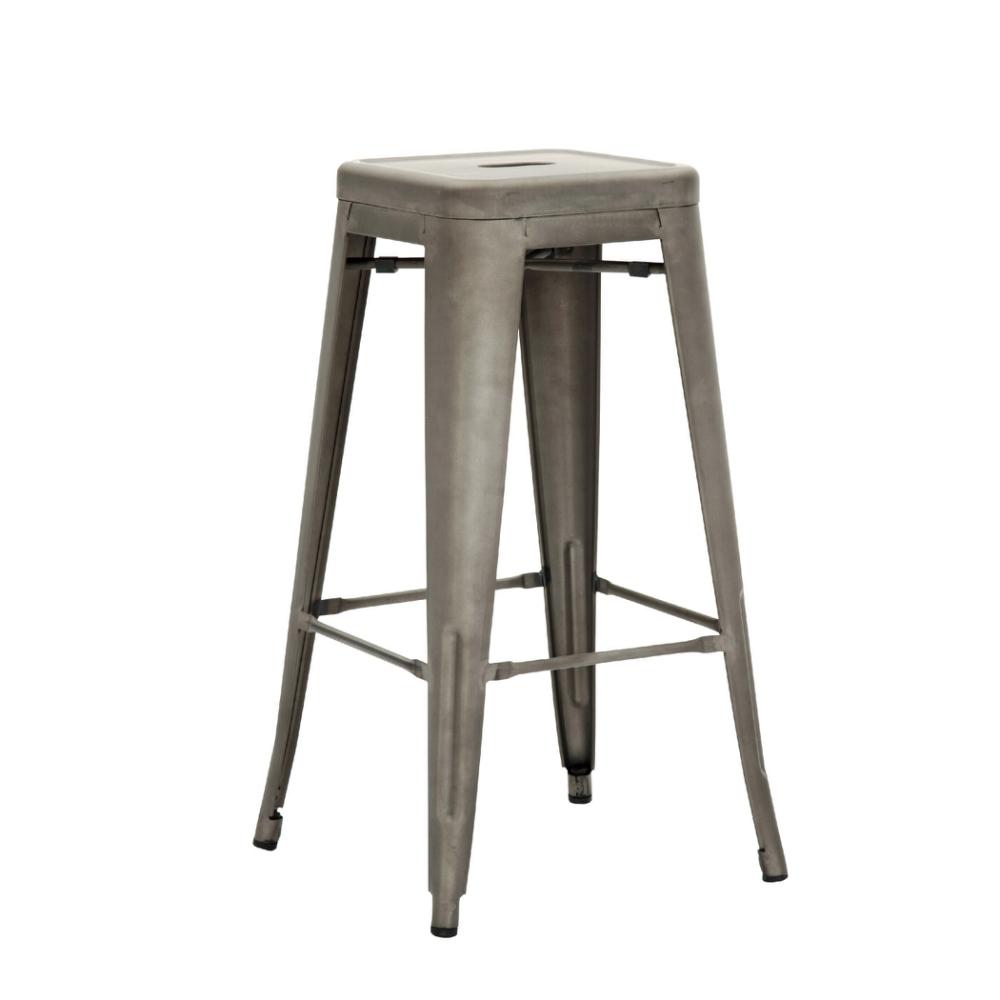 E-home Yanni亞尼工業風可堆疊金屬吧檯椅-高76cm 槍色