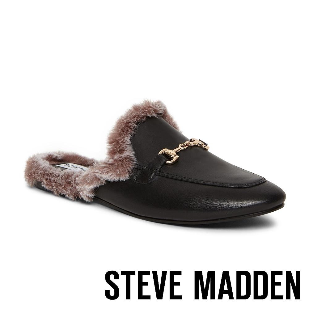 STEVE MADDEN-MYNX 絨毛馬銜扣真皮低跟穆勒鞋-黑色