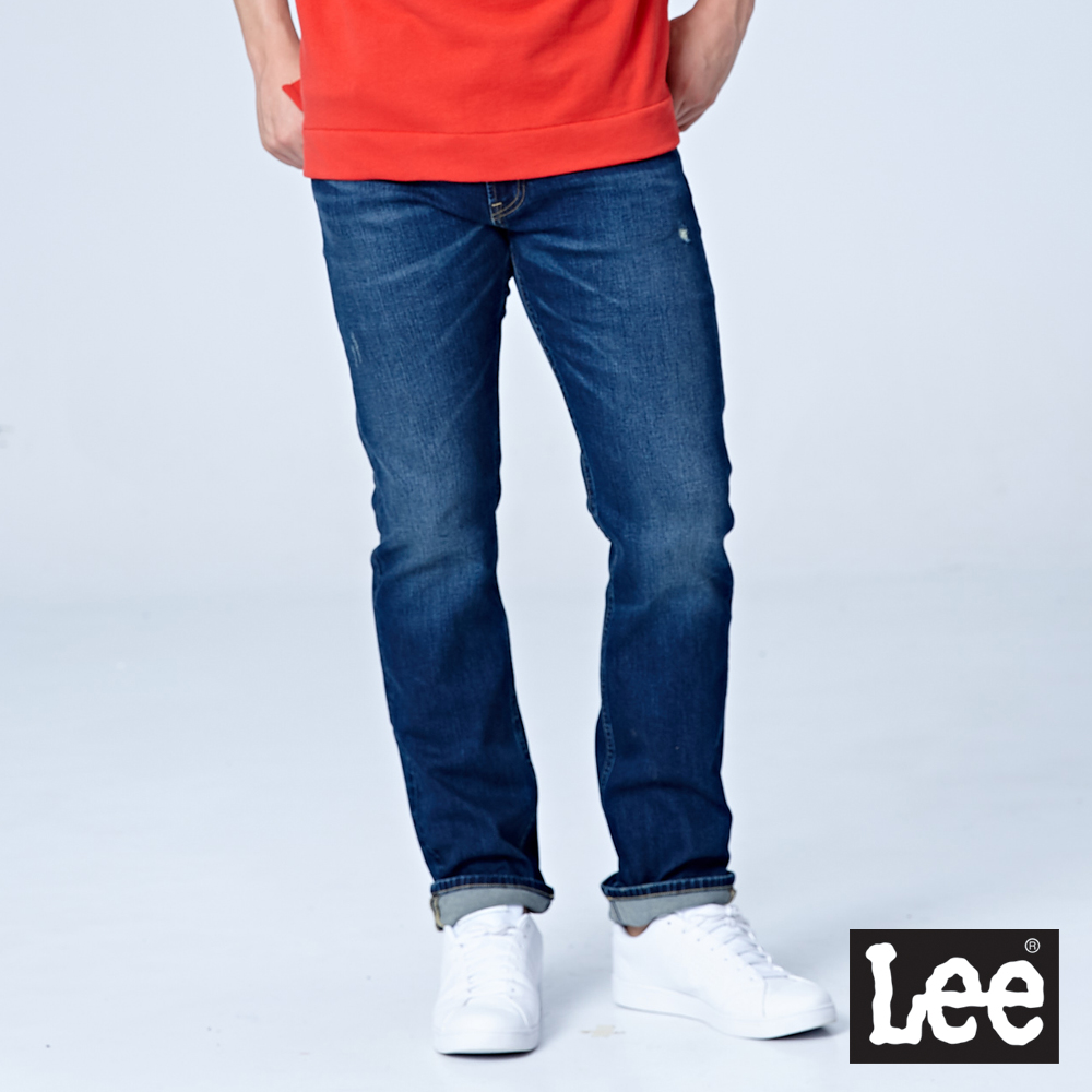 Lee 724中腰合身直筒牛仔褲/RG-中藍色