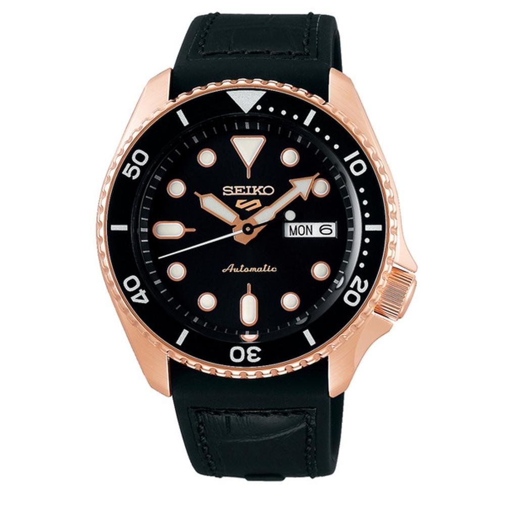 SEIKO 5 sport運動潮流機械腕錶/黑金款4R36-07G0J(SRPD76K1)