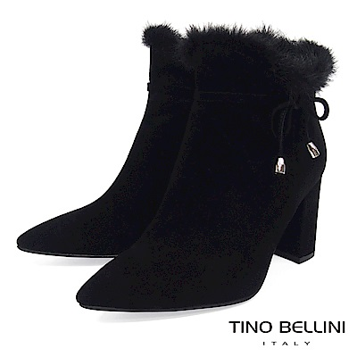 Tino Bellini性感婀娜毛海全真皮高跟尖楦短靴_黑