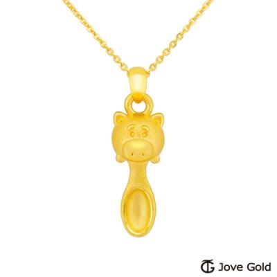 Disney迪士尼系列金飾 立體黃金湯匙墜子-火腿款 送項鍊