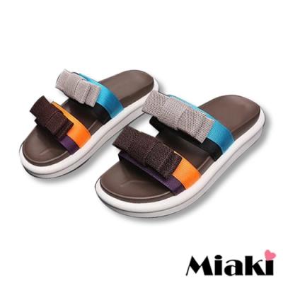 Miaki-拖鞋繽紛仲夏厚底涼鞋-棕